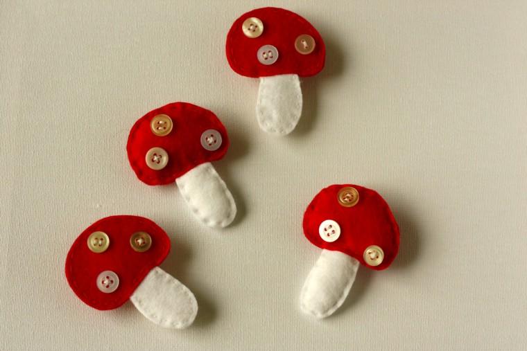 Ciupercute pufoase din fetru